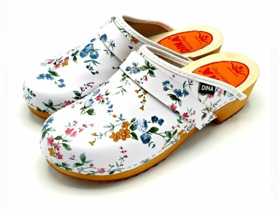 modern clogs with flowers