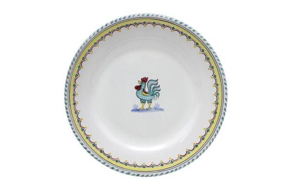 green rooster motif
