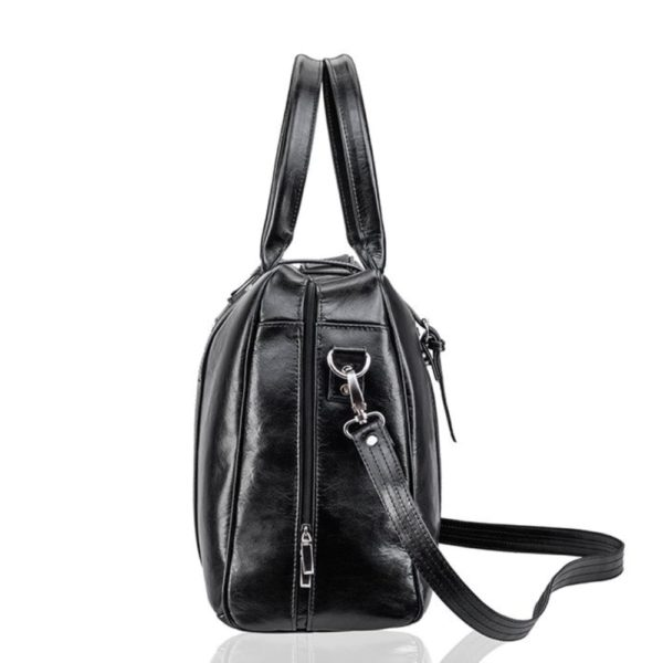 black leather bag made in Poland