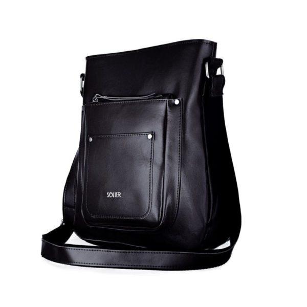 black leather bag for women