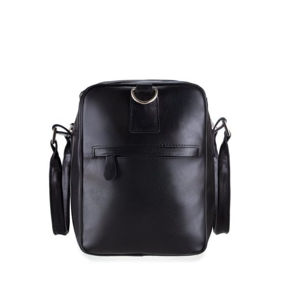 black leather bag side view