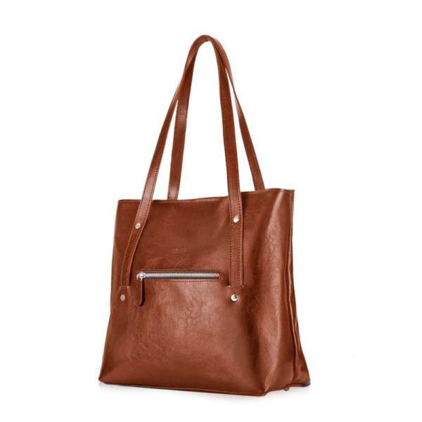 women's leather shopper bag - brown