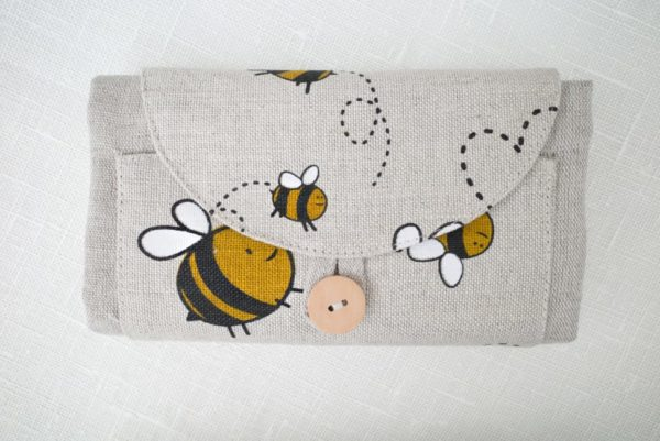 natural bag with bee decorations