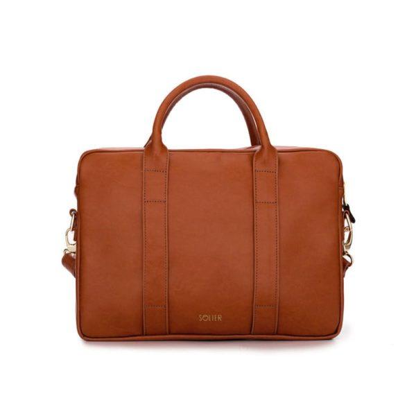 light brown leather laptop bag