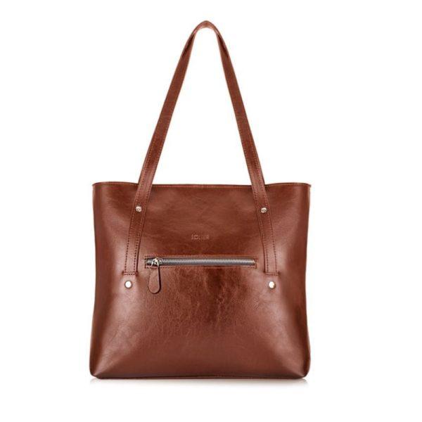 Handmade leather bag for shopping