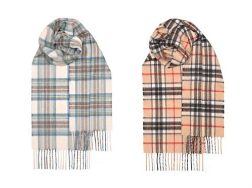 two tartan scarfs