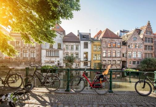 Belgian city street view