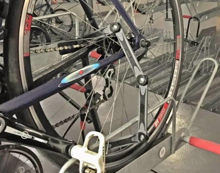 locked-bicycle-in-a-storage