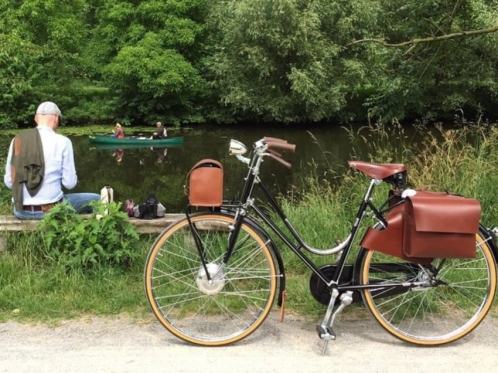 bicycle-by-the-lake-and-a-man