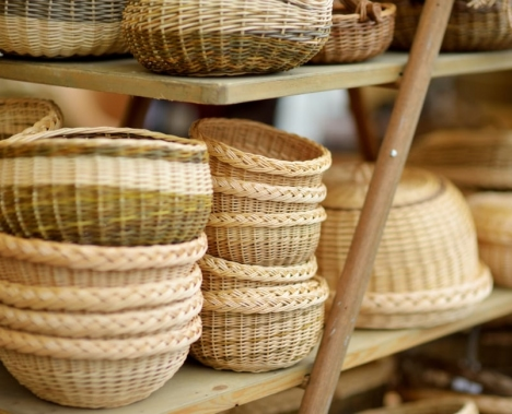 woven baskets in the market