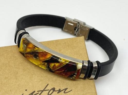 unisex amber bracelet with leather strap