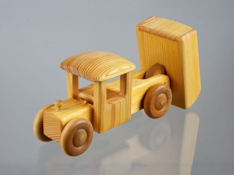 natural wood toy for kids - truck