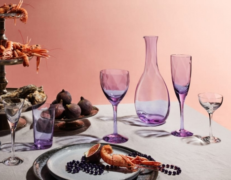 swedish glassware on a table - pink