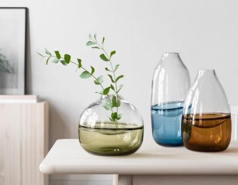 three swedish made vases on a desk