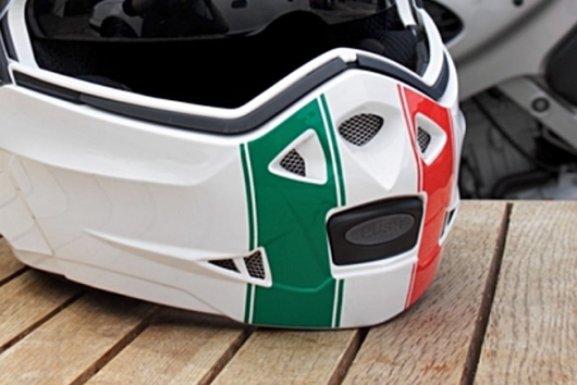 close up of the helmet's front