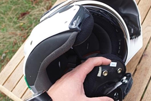 inside of the helmet