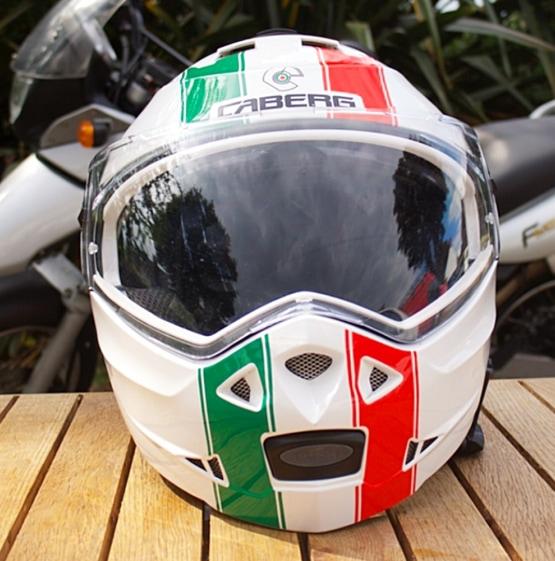 Italian motorcycle helmet with an Italian flag on it