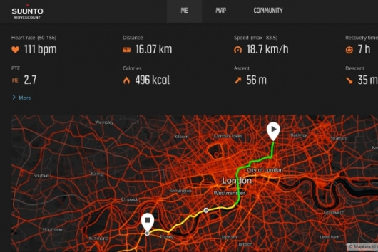 cycling map displayed on Movescount app
