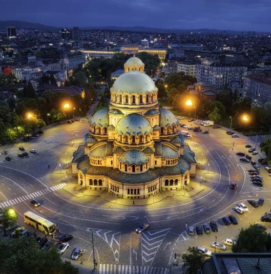 night landmark in Sofia