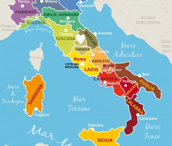 highlighting Umbria region on the map