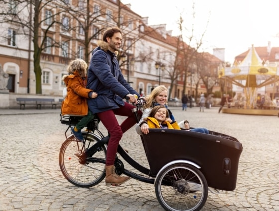 entire family on the bicycle