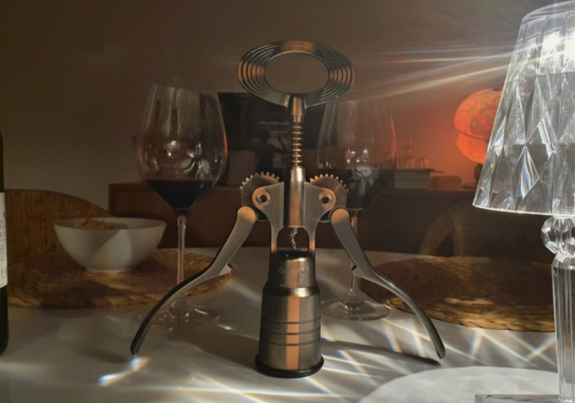 large corkscrew at dinner table