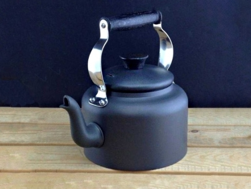 metal kettle for outdoors - made in Britain
